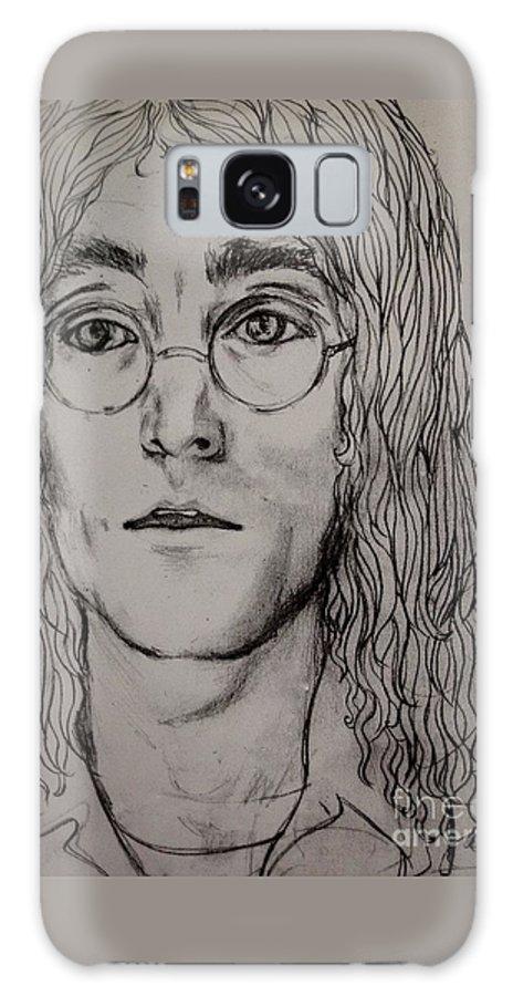 John Lennon Galaxy S8 Case featuring the drawing Pencil Portrait Of John Lennon by Joan-Violet Stretch