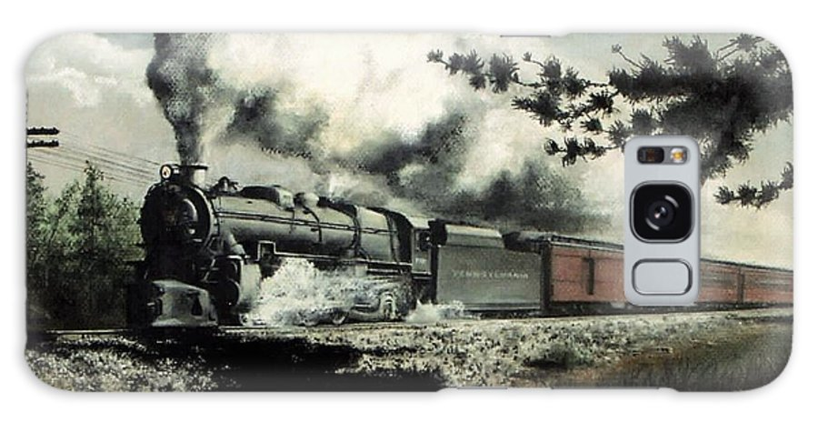 Pennsylvania Railroad Prr Train Painting Railroad Maryland And Pennsylvania Autumn Fall Colors Steam Engine Galaxy Case featuring the pastel Pennsy in the Pines by David Mittner