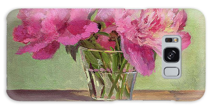Still Galaxy Case featuring the painting Peonies In Tumbler by Keith Burgess