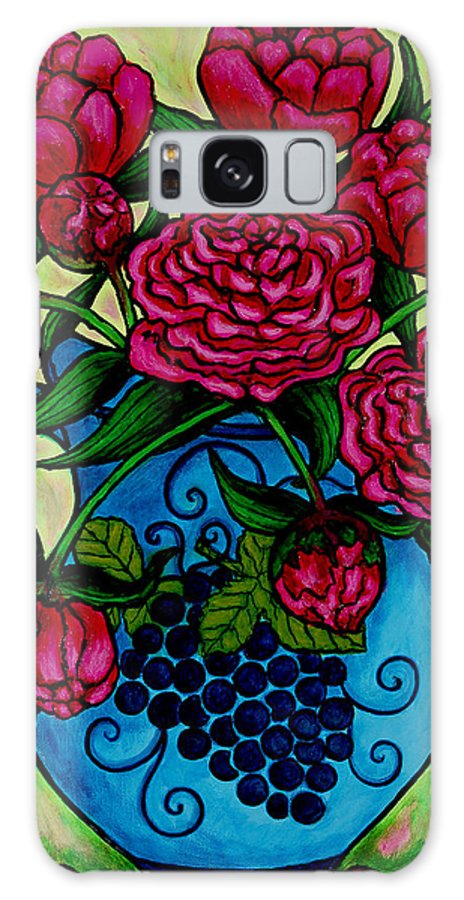 Peonies Galaxy Case featuring the painting Peony Party by Lisa Lorenz