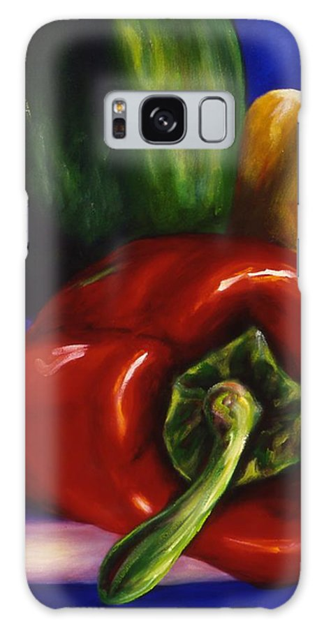 Still Life Galaxy Case featuring the painting Peppers On Peppers by Shannon Grissom