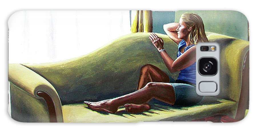 Figure Galaxy Case featuring the painting Perfect Waiting - Esperar Perfecto by Rezzan Erguvan-Onal