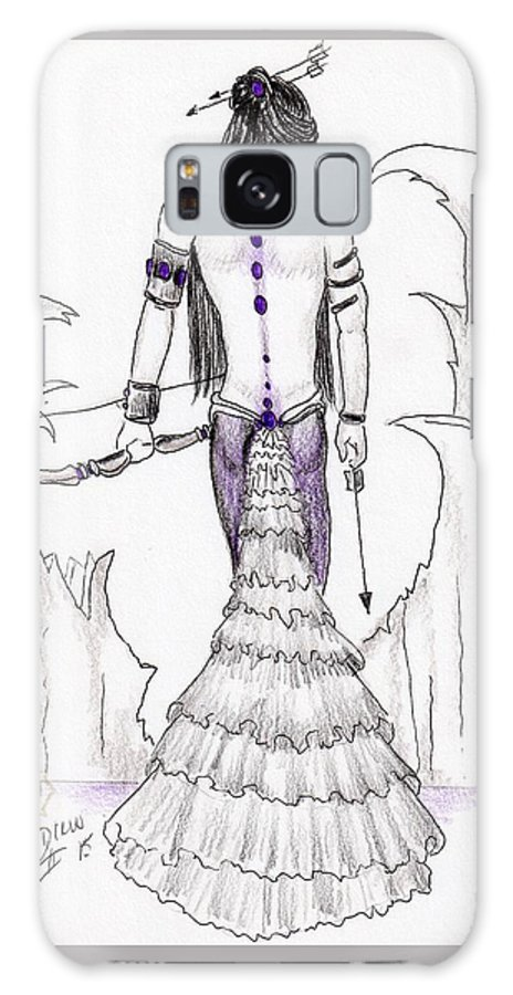Female Warrior Galaxy S8 Case featuring the drawing Persephone by Drew O'Dailey