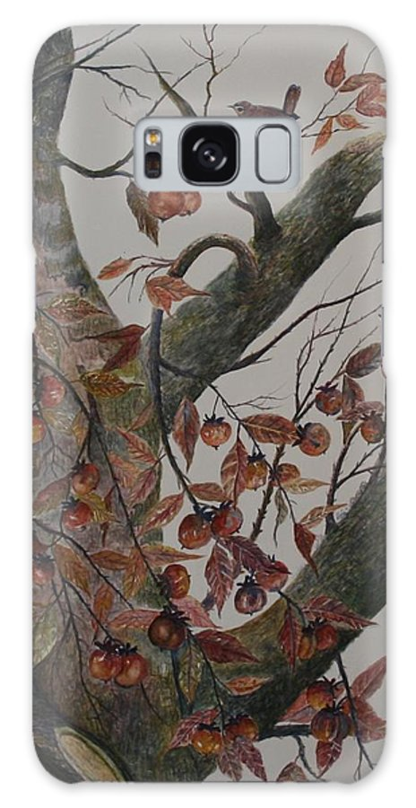 Persimmons; Tree; Landscape' Carolina Wren; Bird Galaxy Case featuring the painting Persimmon Tree by Ben Kiger