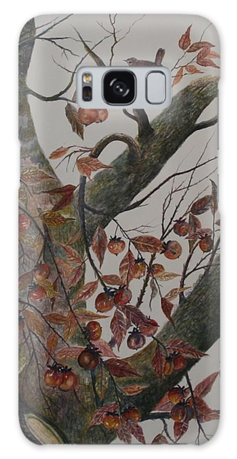 Persimmons; Tree; Landscape' Carolina Wren; Bird Galaxy S8 Case featuring the painting Persimmon Tree by Ben Kiger