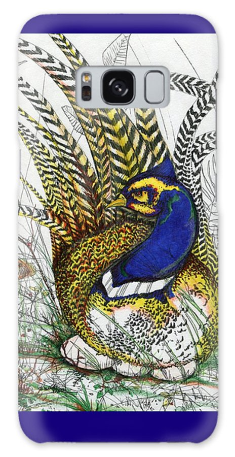 Birds Galaxy S8 Case featuring the drawing Pheasant Blue by Drew O'Dailey