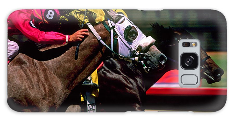 Horse Galaxy Case featuring the photograph Photo Finish by Kathy McClure