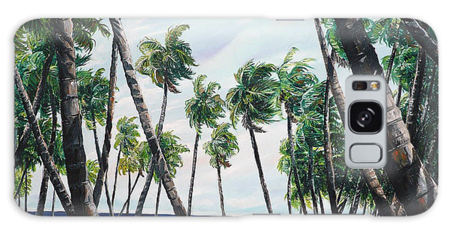 Beach Paintings Ocean Paintings  Caribbean Paintings Coconuts Paintings Tropical Paintings Truck Paintings Sea Paintings Trinidad And Tobago Paintings Tropical Paintings. Greeting Card Paintings Canvas Print Paintings Poster Paintings Galaxy S8 Case featuring the painting Picking Coconuts .. Mayaro by Karin Dawn Kelshall- Best