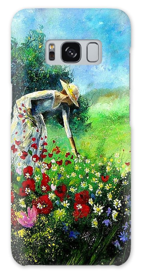 Poppies Galaxy Case featuring the painting Picking Flower by Pol Ledent