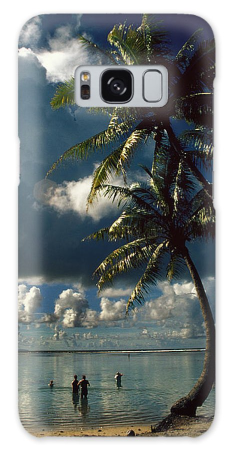 Island; Paradise; Beach; Palms; Palm; Palm Trees; Calm Water; Tropical; Swimmers; Vacation; Ideal; T Galaxy S8 Case featuring the photograph Pigeon Point On Tobago by Carl Purcell