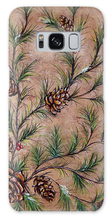Acrylic Galaxy S8 Case featuring the painting Pine Cones And Spruce Branches by Nancy Mueller
