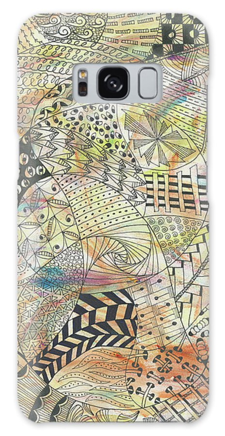 Zentangle Galaxy S8 Case featuring the drawing Pinickity by Bev Donohoe