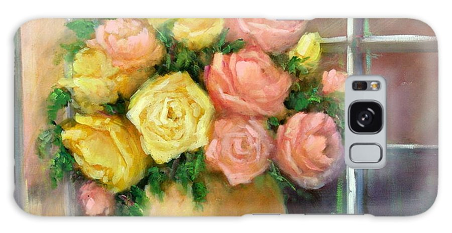 Roses Galaxy S8 Case featuring the painting Pink And Yellow Roses by Sally Seago