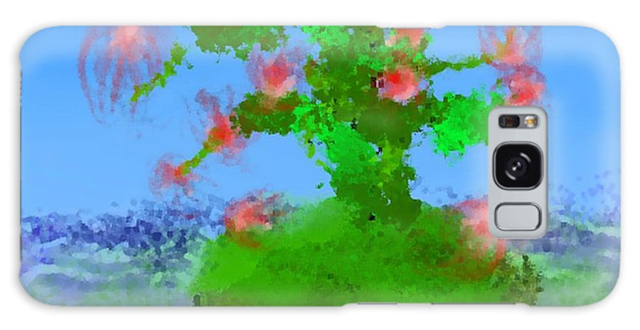 Landscape.sea.birds.island.sky.tree .rest Stop.wave.wind. Galaxy S8 Case featuring the digital art Pink Birds Ongreen Island by Dr Loifer Vladimir