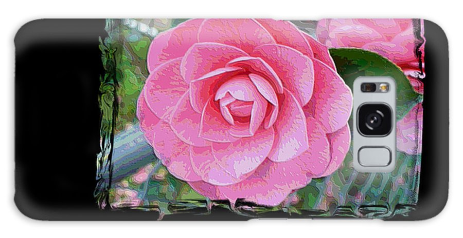 Pink Camelllias Galaxy S8 Case featuring the photograph Pink Camellias With Fence And Framing by Carol Groenen