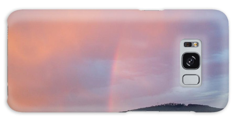 Pink Clouds Galaxy Case featuring the photograph Pink clouds with rainbow by Toni Berry