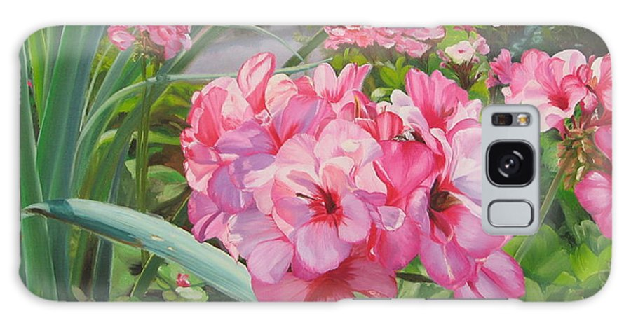 Pink Geraniums Galaxy Case featuring the painting Pink Geraniums by Lea Novak