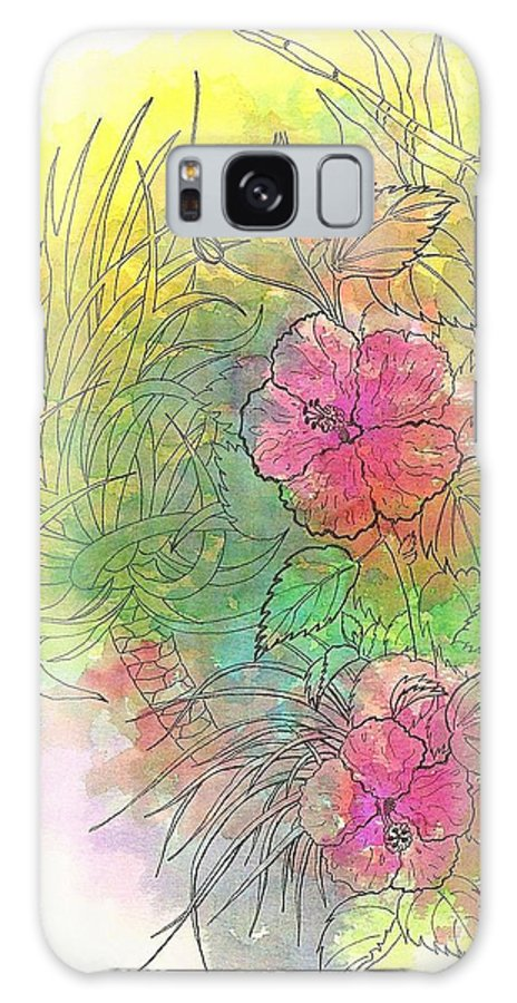Flowers Galaxy S8 Case featuring the drawing Pink Hibiscus by George I Perez