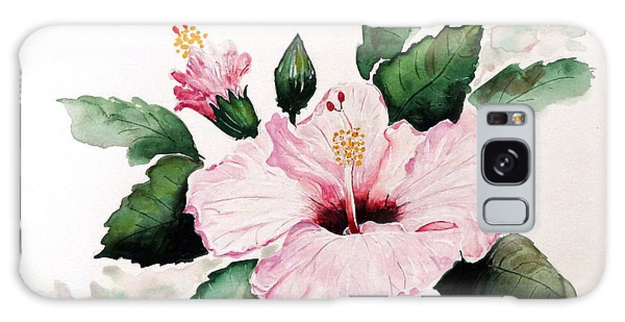 Hibiscus Painting  Floral Painting Flower Pink Hibiscus Tropical Bloom Caribbean Painting Galaxy S8 Case featuring the painting Pink Hibiscus by Karin Dawn Kelshall- Best