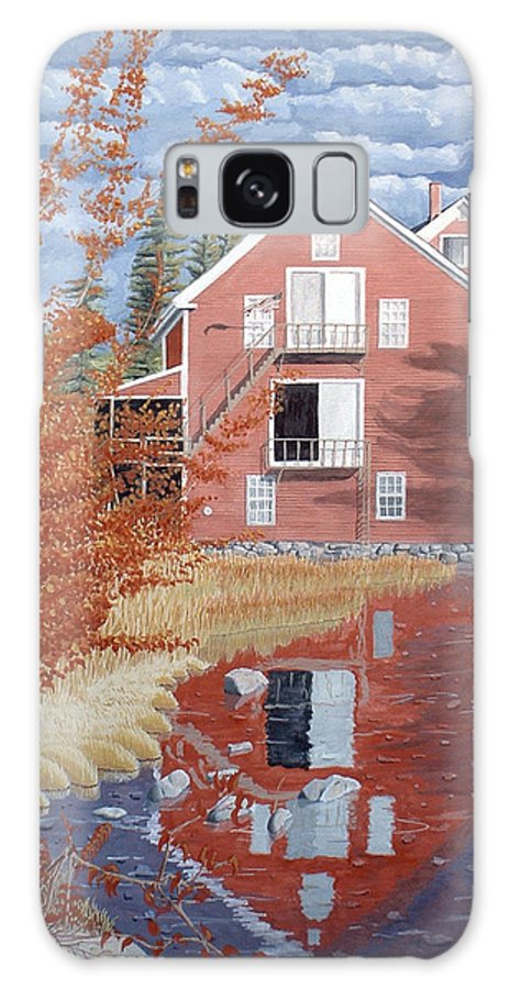 Autumn Galaxy Case featuring the painting Pink House In Autumn by Dominic White