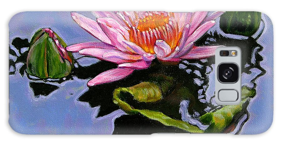Water Lily Galaxy Case featuring the painting Pink Lily With Dancing Reflections by John Lautermilch