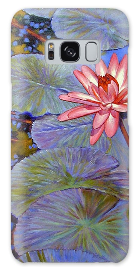 Pink Water Lily Galaxy S8 Case featuring the painting Pink Lily With Silver Pads by John Lautermilch