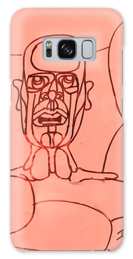 Man Galaxy S8 Case featuring the drawing Pink Man by Ian MacDonald
