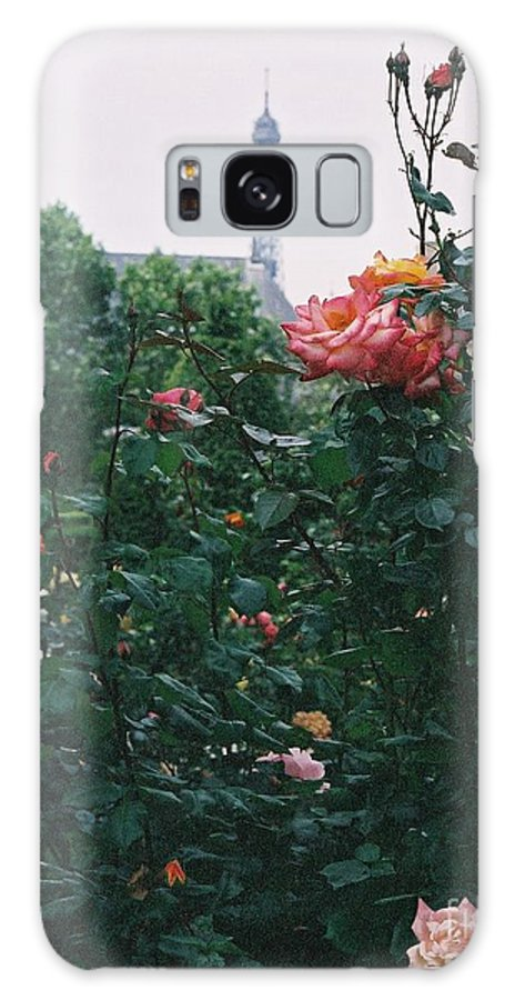 Roses Galaxy S8 Case featuring the photograph Pink Roses And The Eiffel Tower by Nadine Rippelmeyer