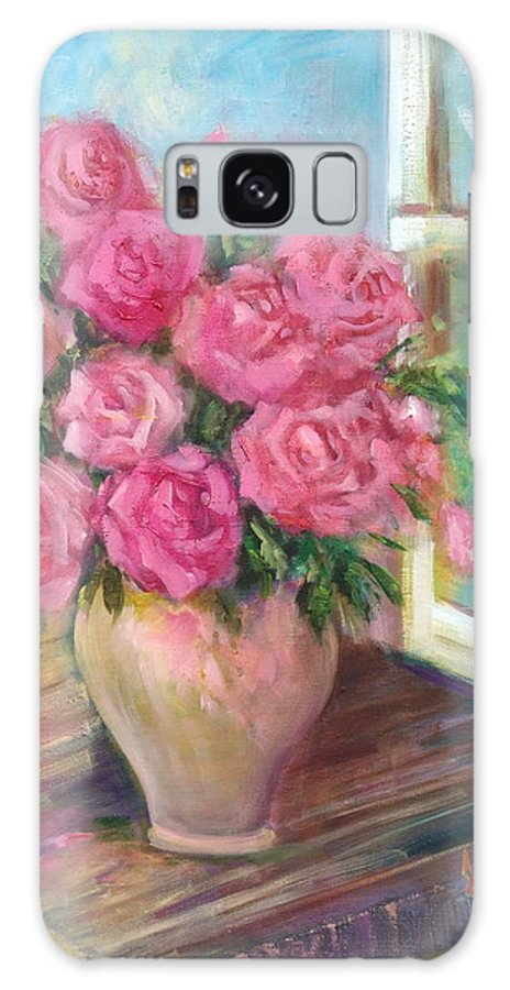 Flowers Galaxy S8 Case featuring the painting Pink Roses by Sally Seago
