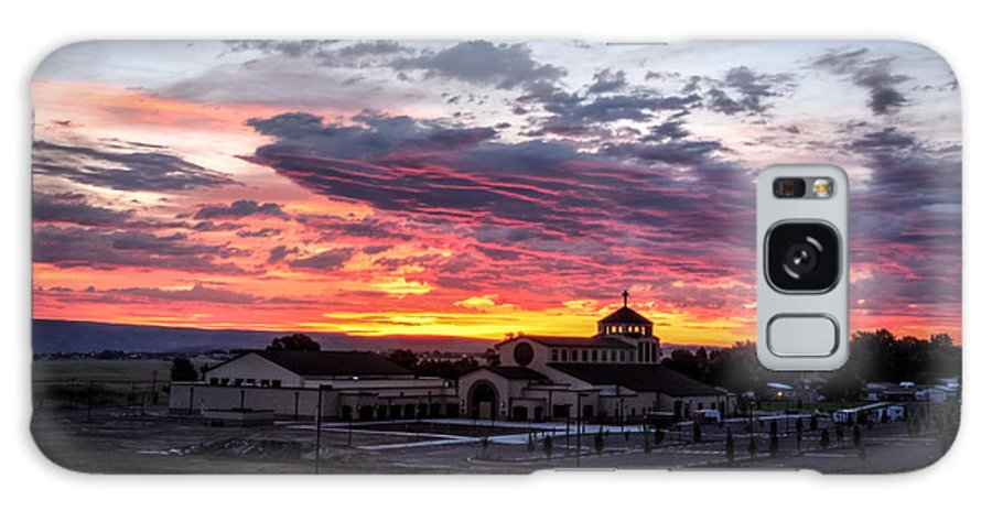 Lewiston Idaho All Saints Catholic Church Sunset Purple Pink Yellow Orange Cloudy Dusk Dark Galaxy S8 Case featuring the photograph Pink Sunset Behind A Church by Brad Stinson