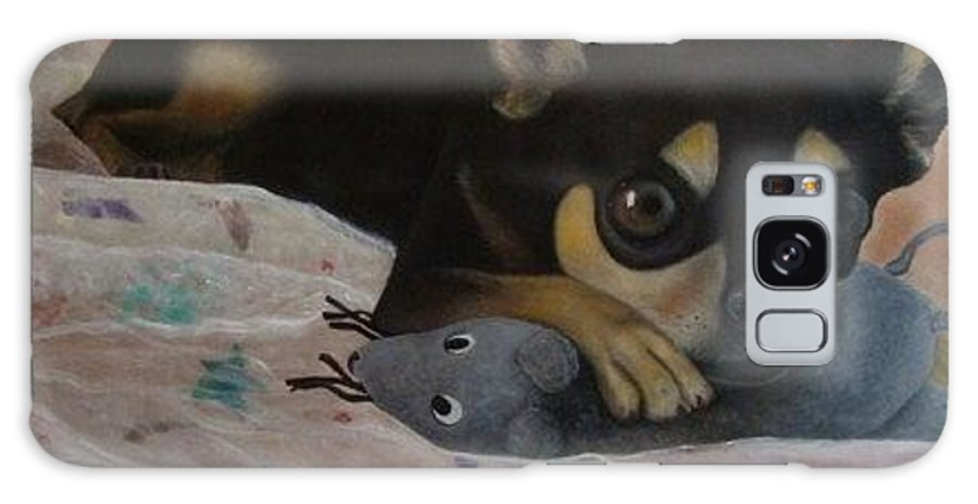 Toy Terrier Galaxy S8 Case featuring the painting Pinky Playing by Ralf Glasz