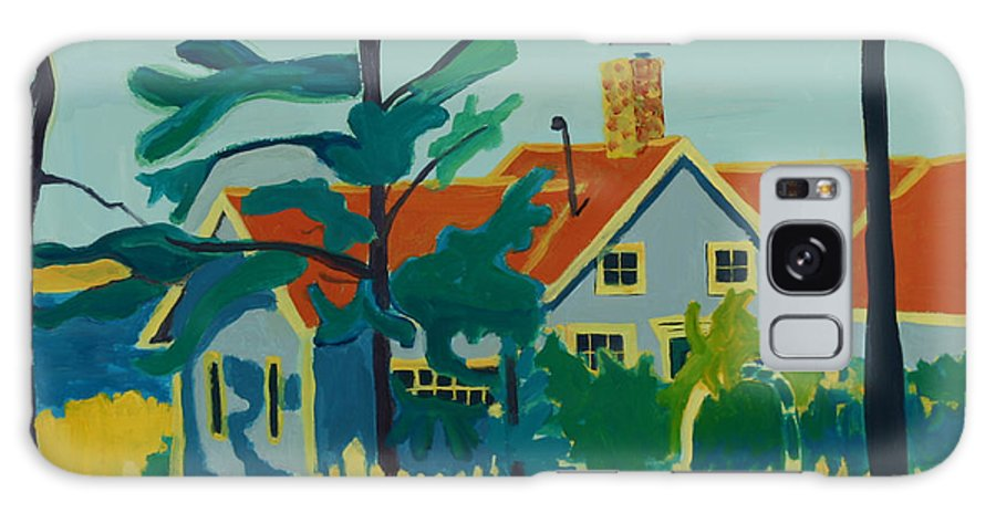 Beach Galaxy Case featuring the painting Pinkys House On Monhegan by Debra Bretton Robinson