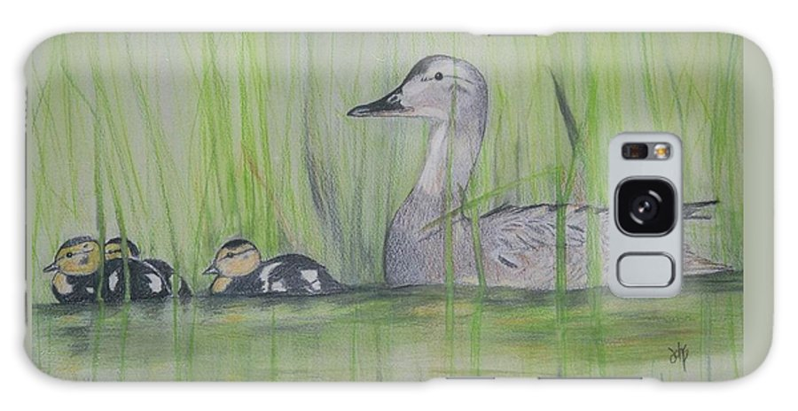 Pintail Ducks Galaxy Case featuring the painting Pintails In The Reeds by Debra Sandstrom
