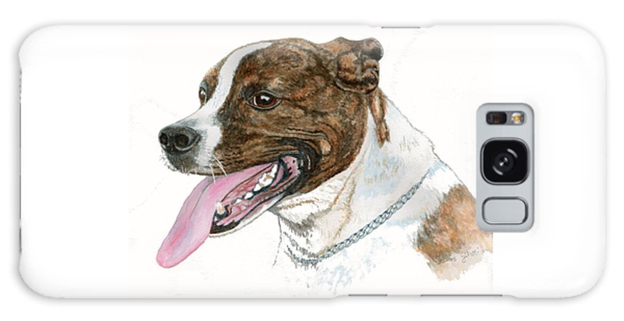 Pitt Bull Breed Galaxy S8 Case featuring the painting Pittbull Dog by Frances Gillotti
