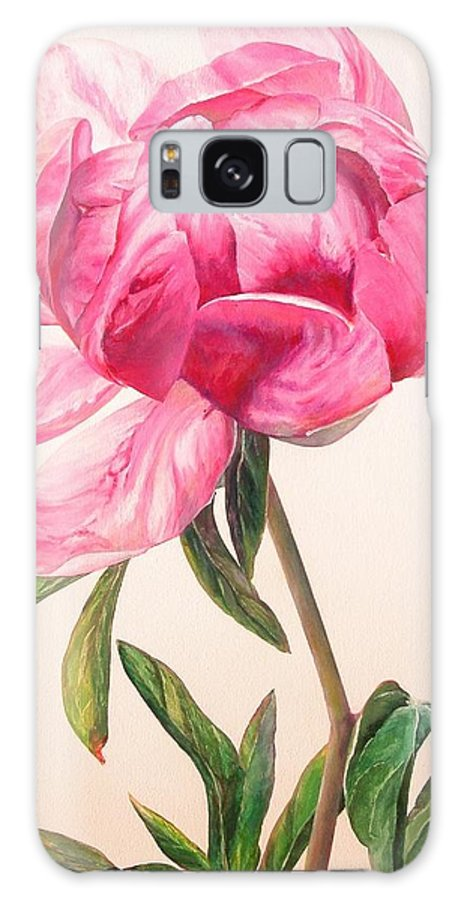Floral Painting Galaxy Case featuring the painting Pivoine 1 by Muriel Dolemieux
