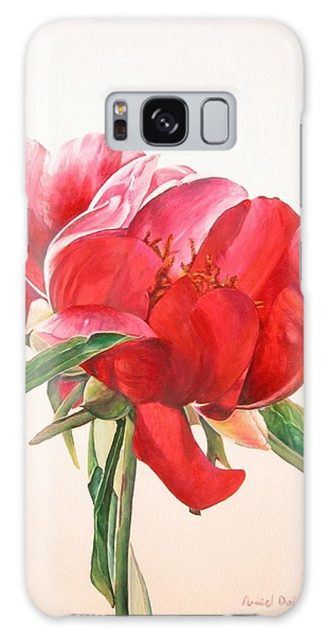 Floral Painting Galaxy Case featuring the painting Pivoine 2 by Muriel Dolemieux