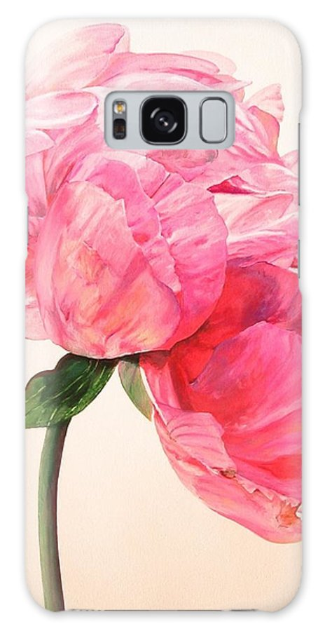Floral Painting Galaxy Case featuring the painting Pivoine 3 by Muriel Dolemieux