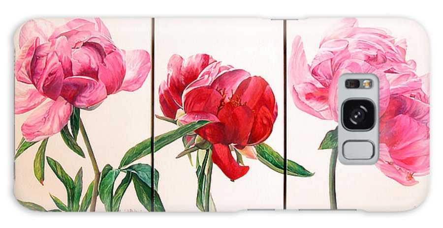 Floral Painting Galaxy Case featuring the painting Pivoines by Muriel Dolemieux