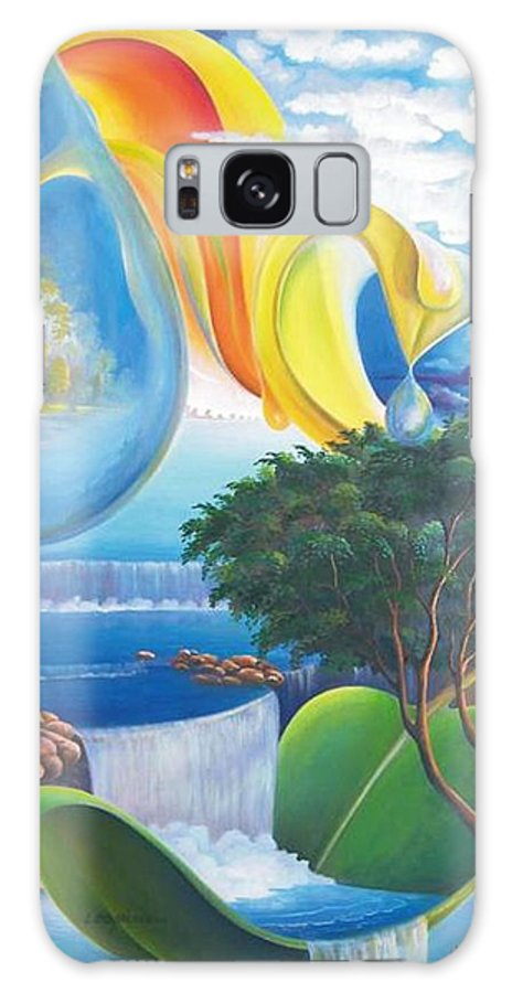Surrealism - Landscape Galaxy S8 Case featuring the painting Planet Water - Leomariano by Leomariano artist BRASIL