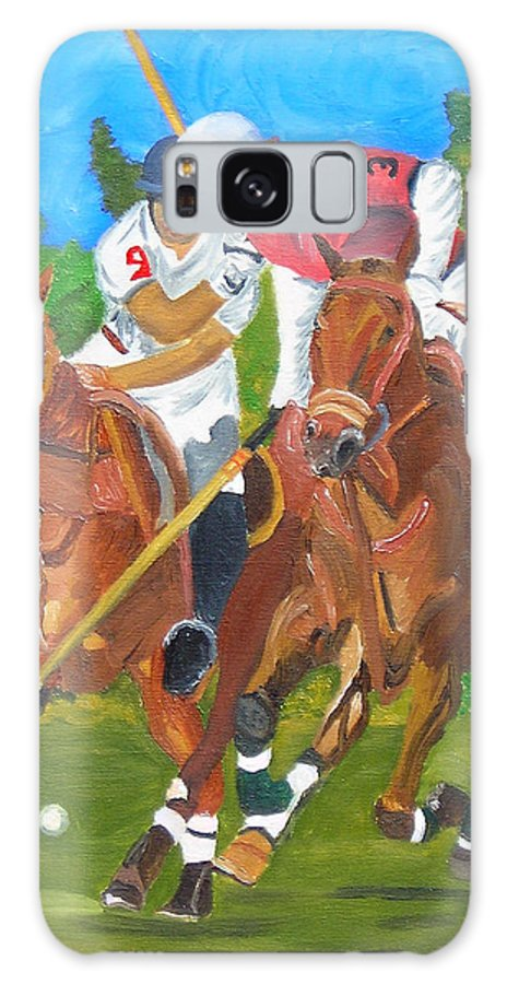 Polo Galaxy Case featuring the painting Play In Motion by Michael Lee