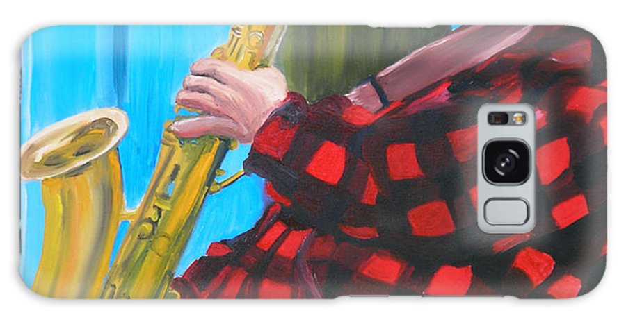 Sax Player Galaxy S8 Case featuring the painting Play It Mr Sax Man by Michael Lee