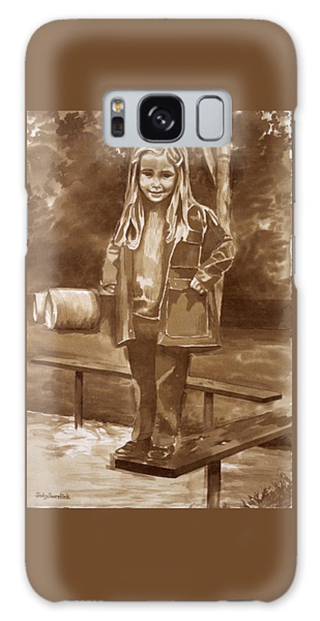Little Girl On Bench In Park Galaxy S8 Case featuring the painting Playground 2 by Judy Swerlick
