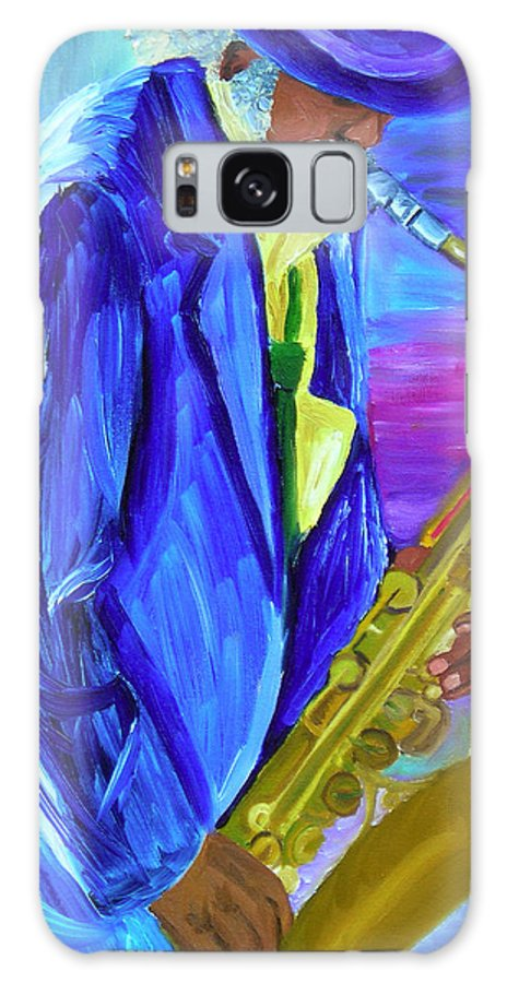 Street Musician Galaxy Case featuring the painting Playing The Blues by Michael Lee