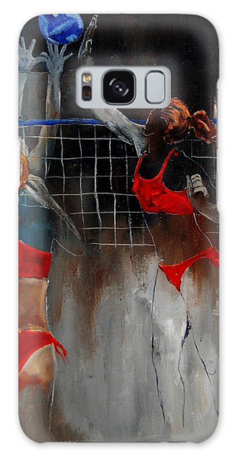 Sport Galaxy Case featuring the painting Playing Volley by Pol Ledent