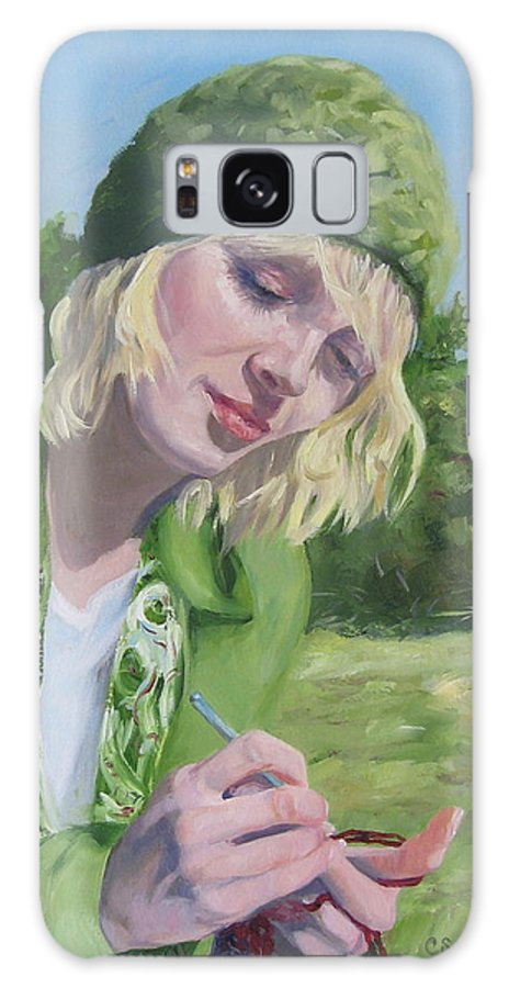 Figurative Galaxy S8 Case featuring the painting Plein Air Crocheting by Connie Schaertl