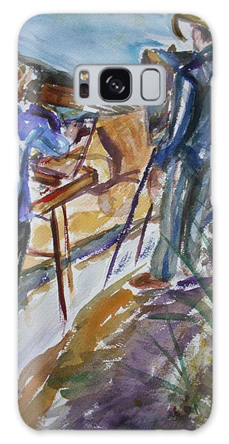 Impressionist Galaxy S8 Case featuring the painting Plein Air Painters - Original Watercolor by Quin Sweetman