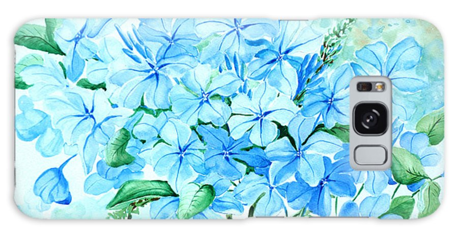 Floral Blue Painting Plumbago Painting Flower Painting Botanical Painting Bloom Blue Painting Galaxy S8 Case featuring the painting Plumbago by Karin Dawn Kelshall- Best