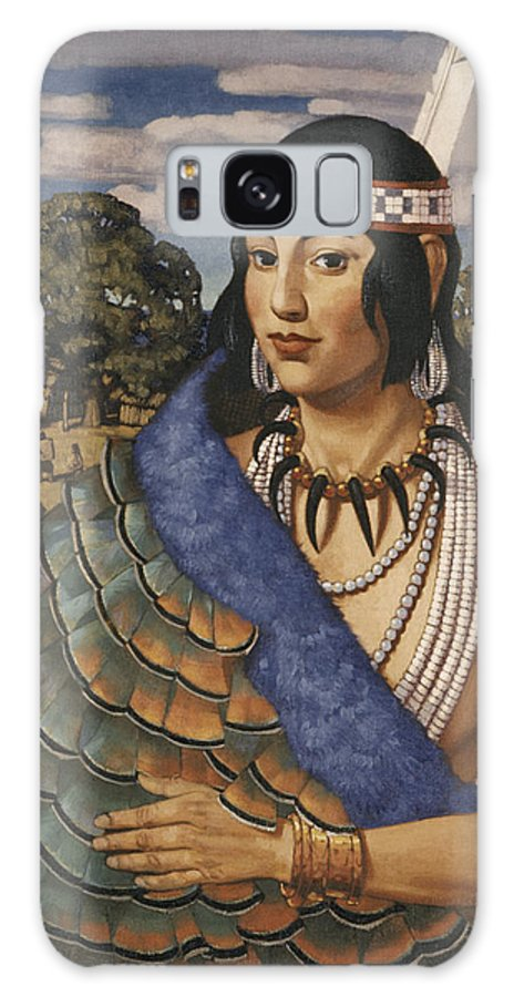 Illustration Galaxy S8 Case featuring the photograph Pocahontas Wears A Turkey-feather Robe by W. Langdon Kihn