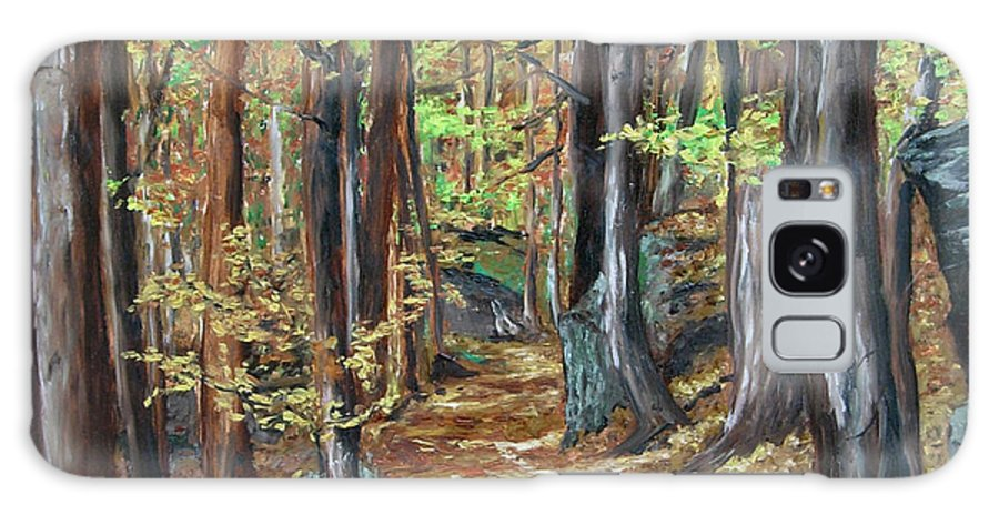 Landscape Galaxy S8 Case featuring the painting Podzim V Lese Po Pesine Behaj Bezci by Pablo de Choros
