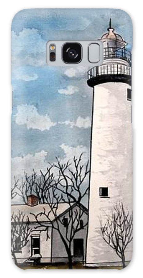 Lighthouse Painting Galaxy S8 Case featuring the painting Point Aux Barques Lighthouse by Derek Mccrea